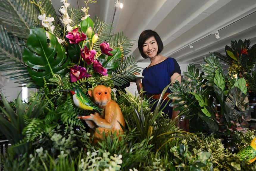 Donna Ong's work (above) is a study of the tropical forest through time.