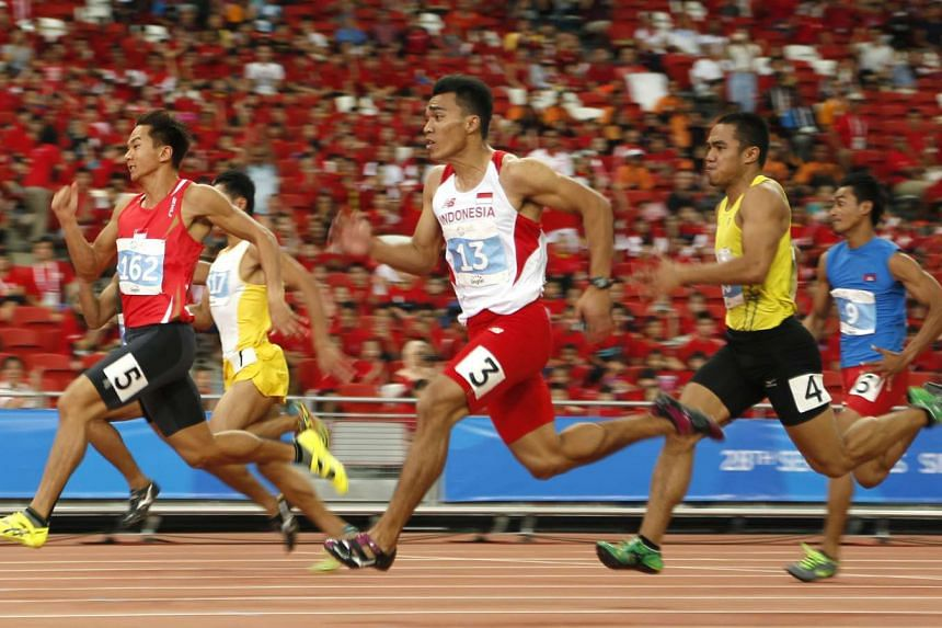Calvin Kang of Singapore leading before ending second in his SEA Games 100m heat last June. He was fourth in the final and the 2008 Olympian believes that running in the main stadium will spur him on to qualify for the Rio Games in August.