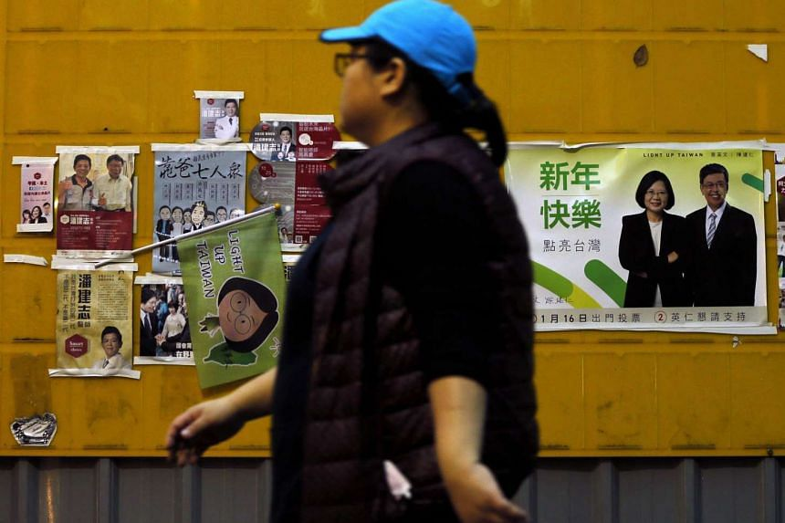 Campaign posters and banners displayed in public areas ahead of the presidential election in Taipei. Taiwan will hold its presidential election on Saturday.