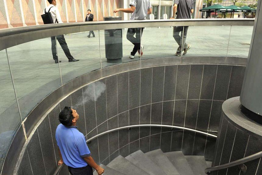 Smokers at Suntec City.
