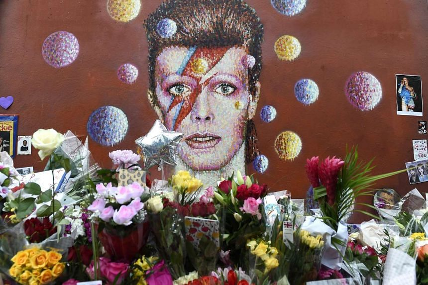 A tribute mural for late British singer David Bowie at his birthplace in Brixton, London, on Jan 12.