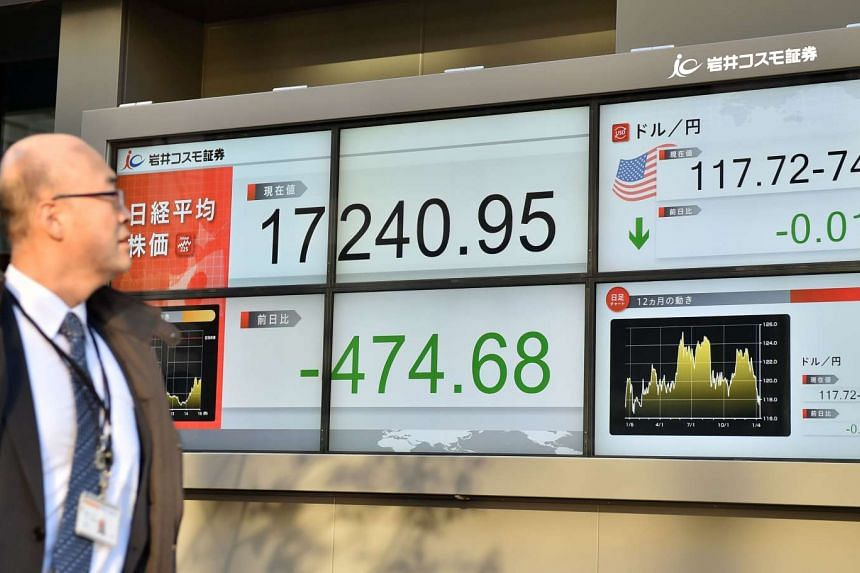 A share price board in Tokyo on Jan 14.