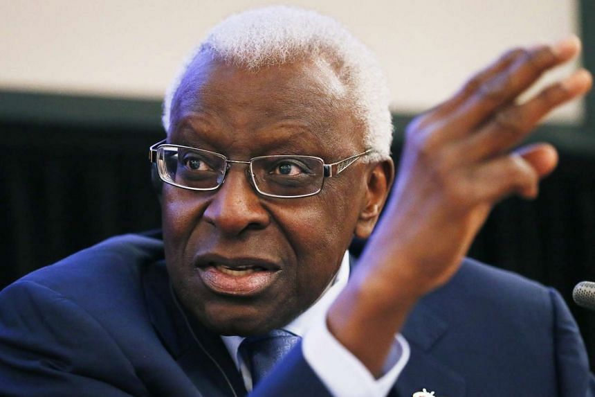 IAAF President Lamine Diack during a press conference in Moscow, Russia in 2013.