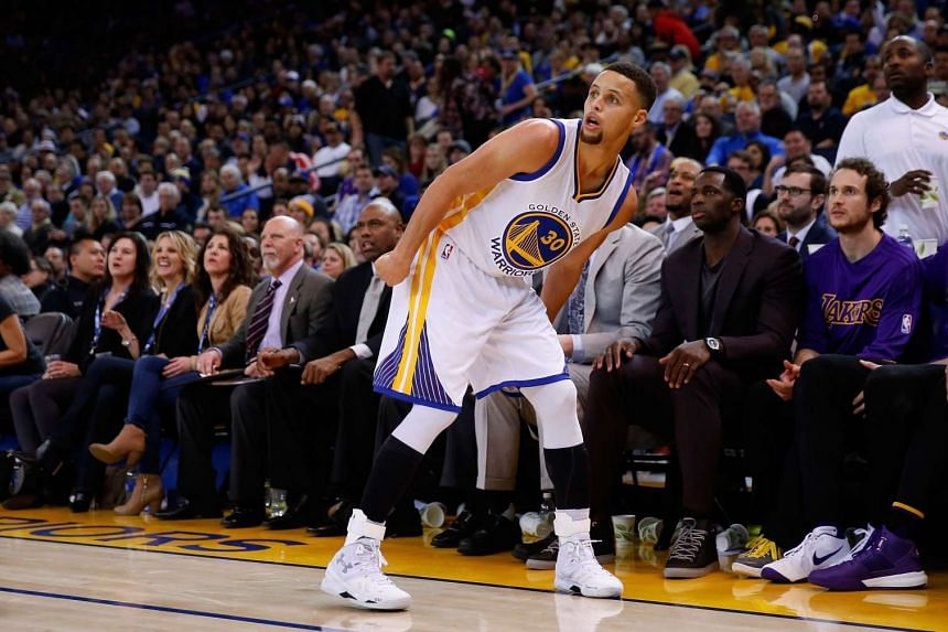 Stephen Curry of the Golden State Warriors during their game against the Los Angeles Lakers at Oracle Arena on Jan 14, 2016.