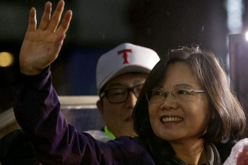 Ms Tsai Ing-wen, Taiwan's Democratic Progressive Party (DPP) presidential candidate, waves to supporters on Jan 15, 2016.