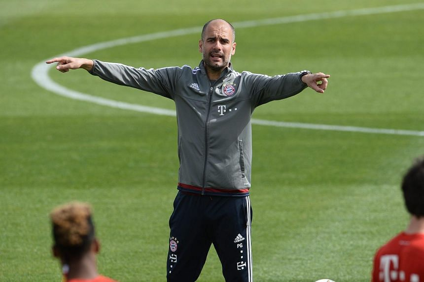 Bayern Munich head coach Pep Guardiola at a training session in Doha on Jan 10.