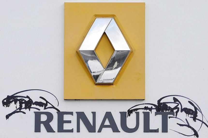 The Renault logo in front of the carmaker's headquarters in France on Jan 14.