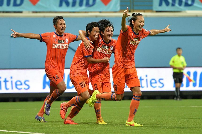 Albirex Niigata players celebrating after beating Home United 2-1 at the RHB Singapore Cup Final on Nov 27, 2015.