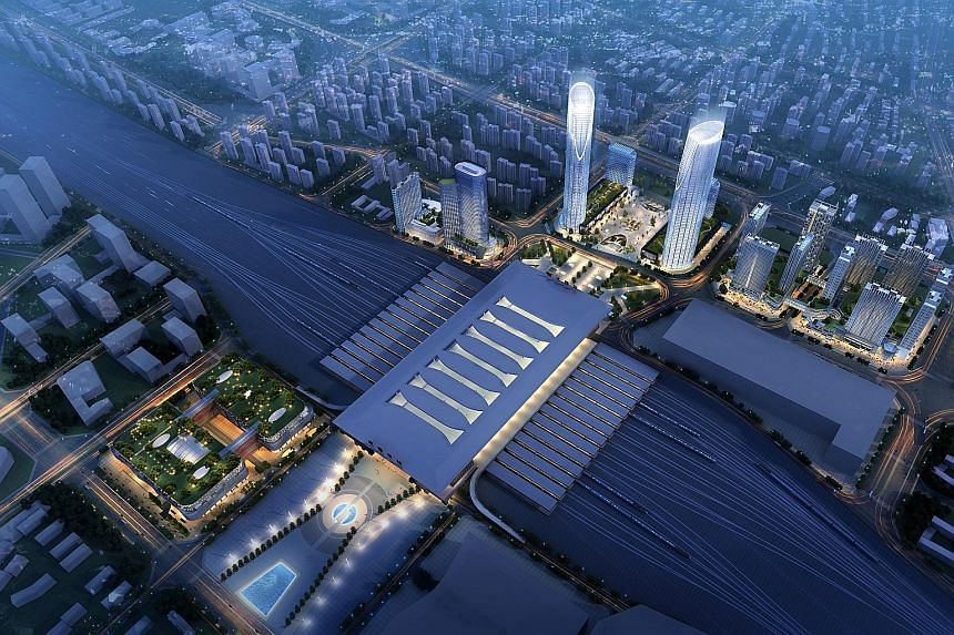 The eldercare and retirement home, which will be part of an integrated development (left) adjacent to the Chengdu East High Speed Railway station, is projected to open next year.