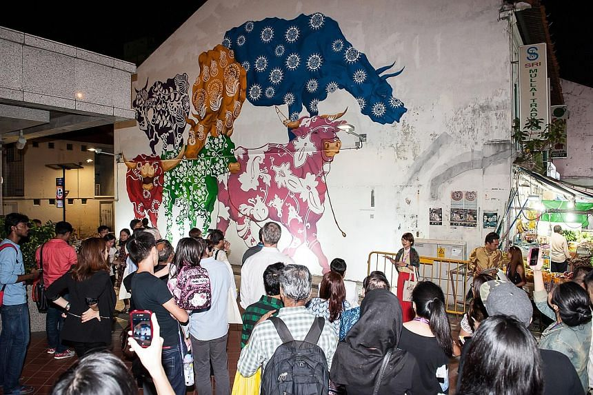 View art installations and scheduled activities along the ArtWalk Little India trail.