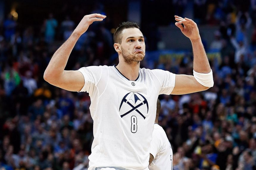 Denver forward Danilo Gallinari getting pumped up after making a play against Golden State. The Italian scored a team-high 28 points as the hosts triumphed 112-110.