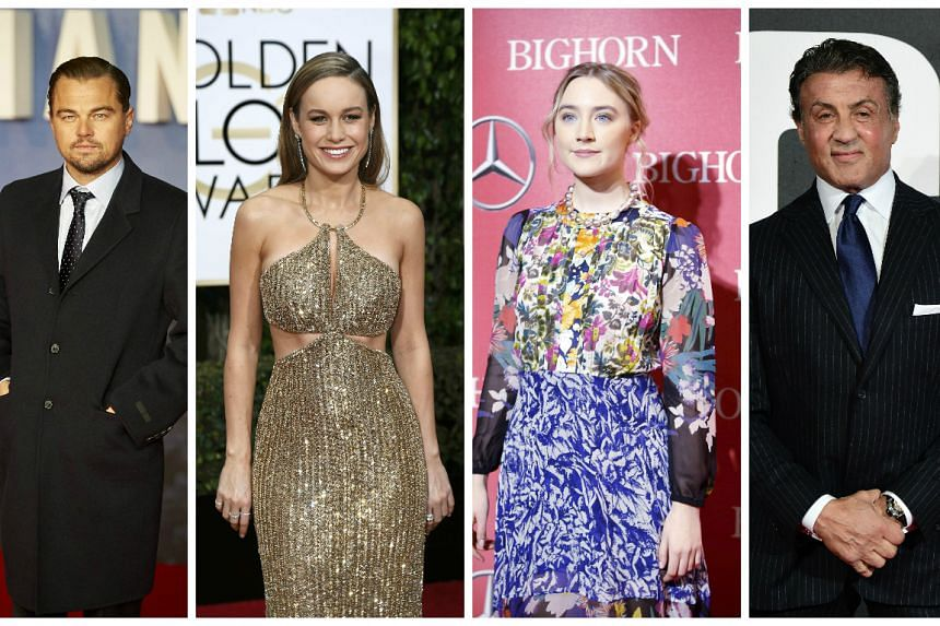 Nominated are (from left) Leonardo DiCaprio, Brie Larson, Saoirse Ronan and Sylvester Stallone.
