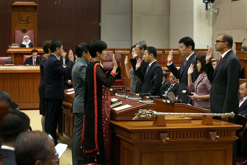 Ministers of State being sworn into Parliament on Jan 15, 2016,