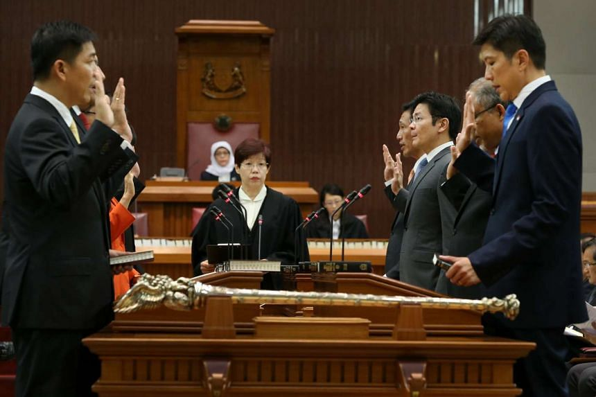 Ministers being sworn into Parliament on Jan 15, 2016.