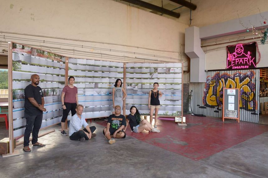 The mini festival at Lepark is the work of (standing from left) Zul Awab, Geraldine Kang, Carmen Low, May Leong, (seated (from left) Philipp Aldrup, Shaiful Risan and Soph O.