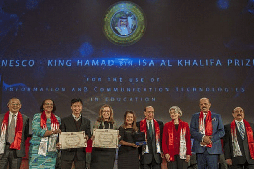The prize presentation ceremony of the Unesco King Hamad Bin Isa Al-Khalifa Prize for the Use of ICTs in Education.