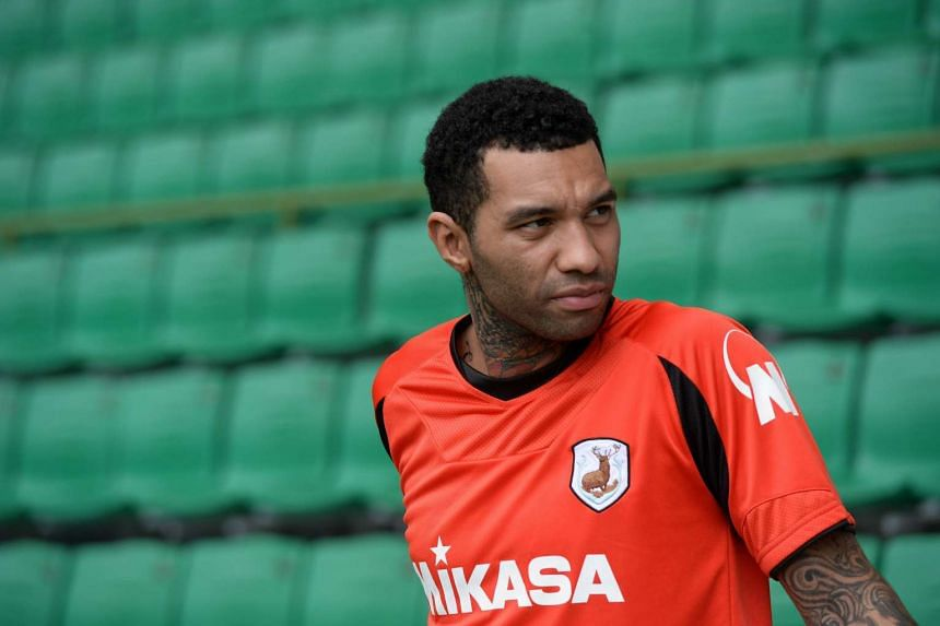 Jermaine Pennant attending a football training session for a trial with Tampines Rovers.