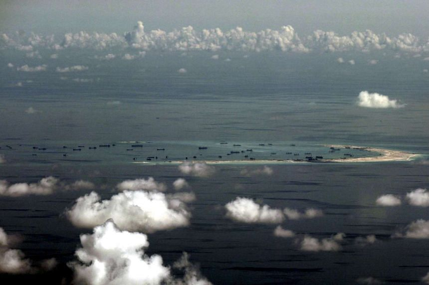 The alleged ongoing land reclamation by China on Mischief Reef in the Spratly Islands in the South China Sea.