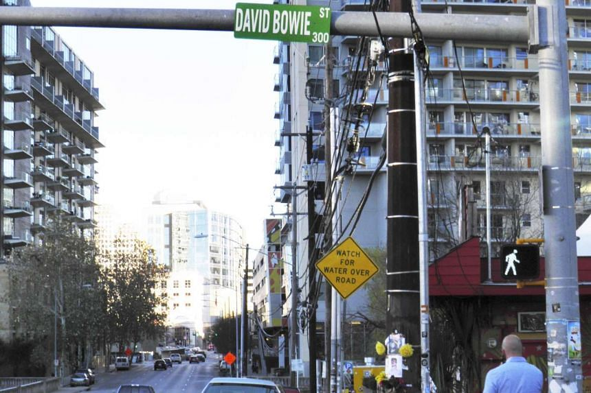 """A sign for Bowie Street in the Texas capital of Austin has been changed to """"David Bowie Street""""."""