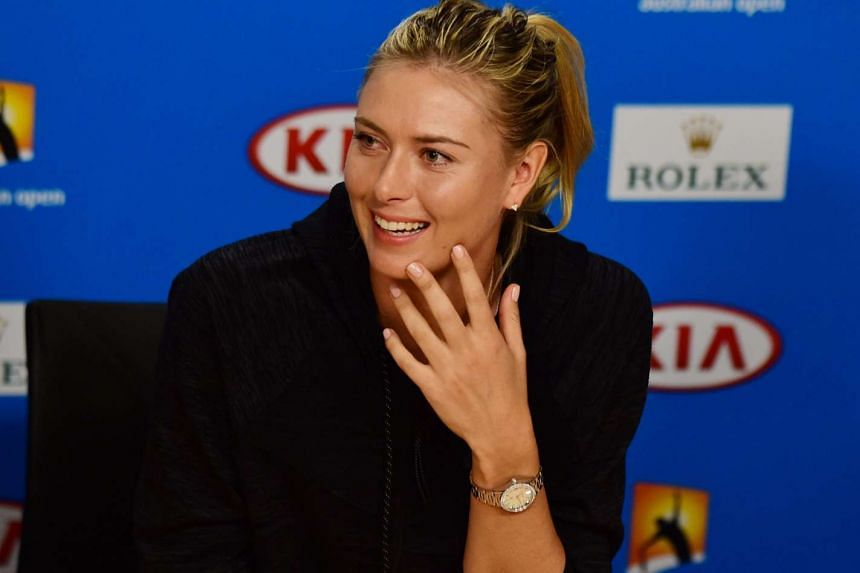Maria Sharapova speaks with members of the media during a player press conference ahead of the Australian Open.