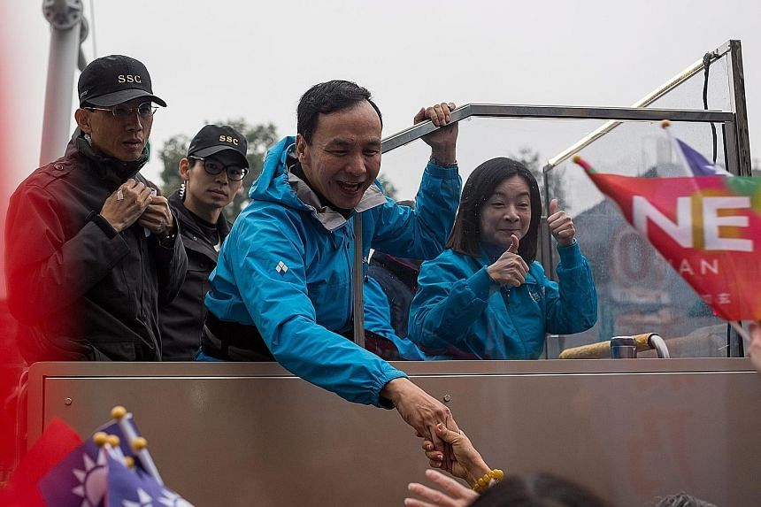 """Ms Tsai being welcomed by a euphoric crowd at Ketagalan Boulevard calling: """"President, how do you do?"""""""