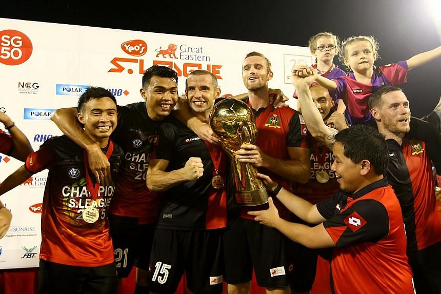 S-League champions DPMM with the trophy after winning the title on the very last day of the season. This year, the nine teams will meet each other thrice in the 24-round league, which will end on Oct 28.