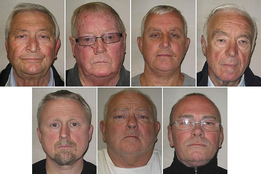 Police custody images of the Hatton Garden criminals (top row, left to right): Terrence Perkins, John Collins and Daniel Jones. (Middle row, left to right): Brian Reader, Hugh Doyle and William Lincoln. (Left): Carl Wood. They conspired to steal US$2