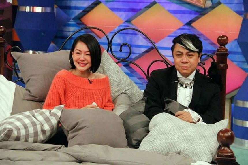 The finale of popular chat show Mr Con & Ms Csi was taped with hosts Dee Hsu and Kevin Tsai (both above) in a bed, reacting to reels from the past 12 years.