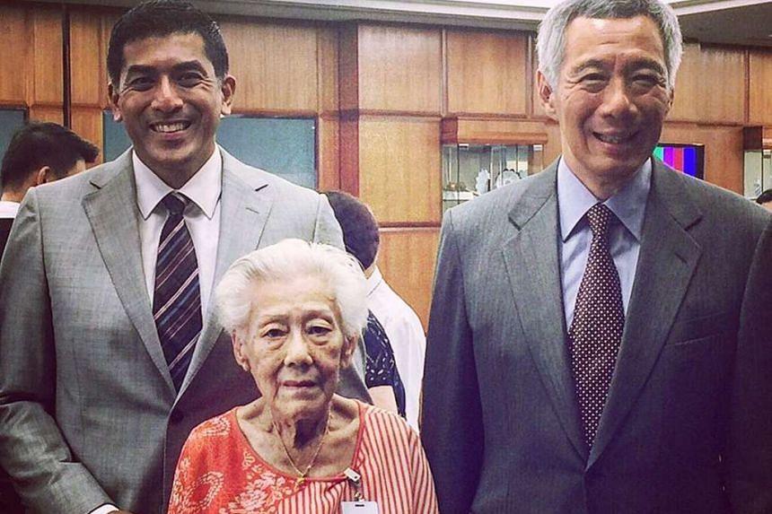 Mr Darryl David (Ang Mo Kio GRC) and his 87-year-old grandmother, Madam Lim Keow Choon, with PM Lee Hsien Loong