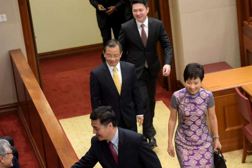 In Parliament House for the first session of the 13th Parliament yesterday were (from front) PAP MPs Heng Chee How, Grace Fu, Seah Kian Peng and Henry Kwek.