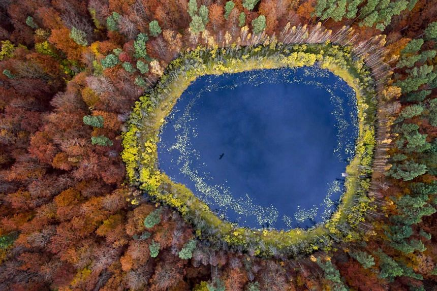 Second Prize, Long-term Projects.An aerial view of the landscape in Gdynia, Poland, shot from a paraglider or gyroplane.