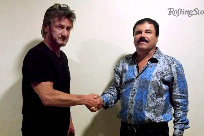 "Actor Sean Penn (left) shaking hands with Mexican drug lord Joaquin ""El Chapo"" Guzman in Mexico."