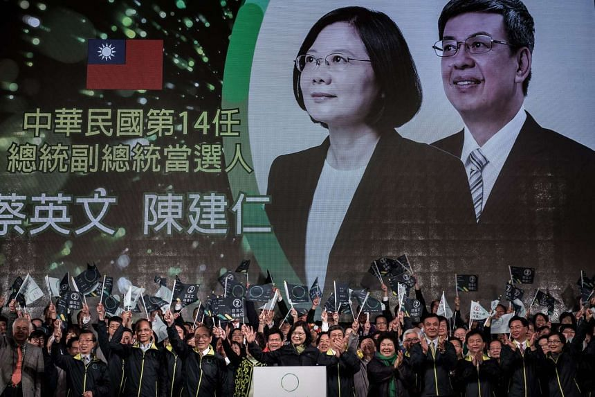 DPP presidential candidate Tsai Ing-wen (centre) celebrating her victory in Taipei on Jan 15, 2016.