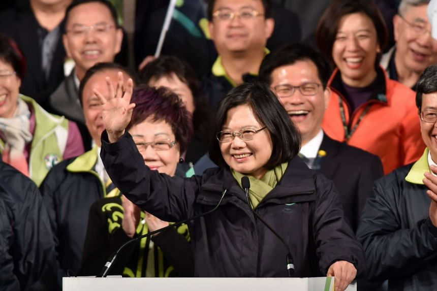 DPP president-elect Tsai Ing-wen waving to her supporters after her victory in Taiwan's presidential elections, on Jan 16, 2016.