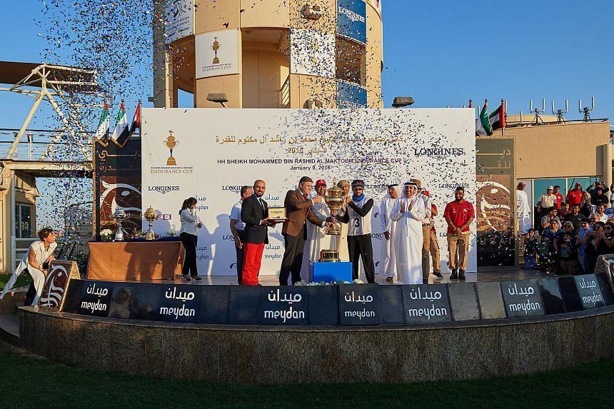 Sheikh Hamdan bin Mohammed bin Rashid Al Maktoum, Crown Prince of Dubai, wins the 2016 HH Sheikh Mohammed Endurance Cup.