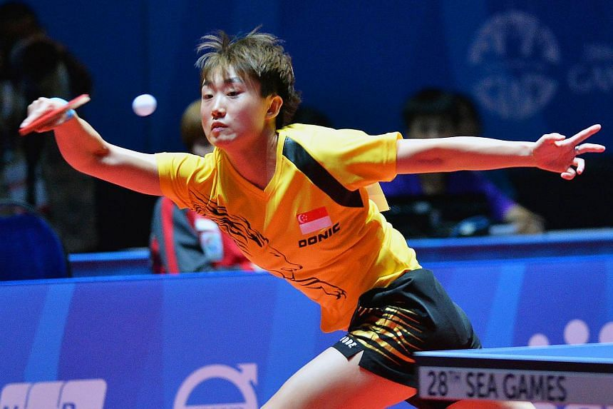 Singapore's Feng Tianwei in action at the 28th SEA Games on June 8, 2015.