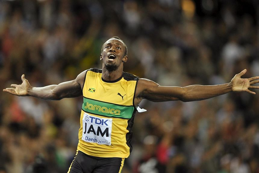 Usain Bolt celebrates winning the men's 4x100 metres relay final at the IAAF World Championships on Sept 4, 2011.