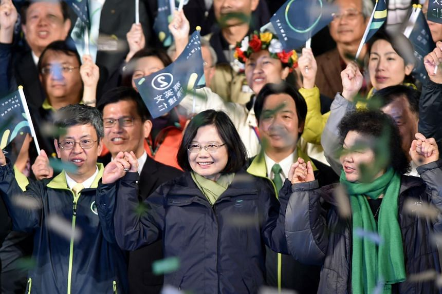 Taiwan's President-elect Tsai Ing-wen (centre) after winning the elections in Taipei on Jan 15, 2016.