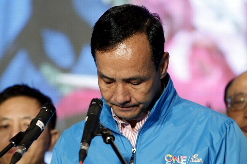 Taiwan's ruling Nationalist Kuomintang Party (KMT) presidential candidate Eric Chu concedes defeat in the elections, in Taipei, Taiwan, on Jan 16, 2016.