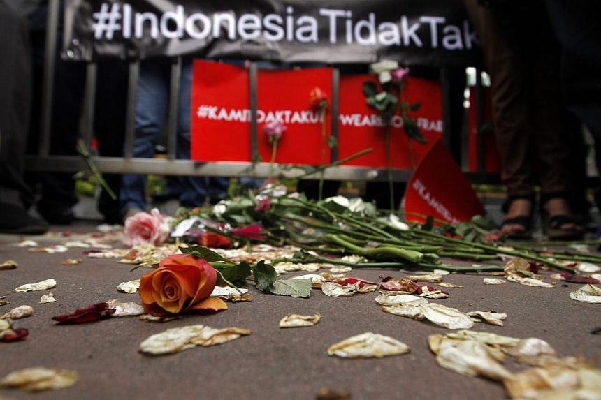 Flowers placed at a scene of the Jan 14 terrorist attacks in Jakarta.