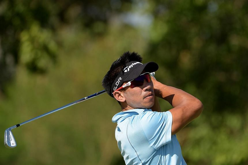 Thailand's Paradorn Srichaphan, former ATP tennis world number nine, hits a shot during the Asian Tour final stage qualifying school on Jan 12, 2016.