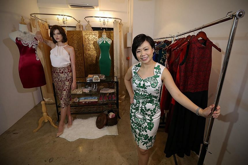 Ms Vivienne Lin (above, right), owner of Fuchsia Lane, and model Gabrielle Meys wearing handmade dresses from the fashion label. In honing her craft, Ms Lin came under the mentorship of veteran local designer Thomas Wee.
