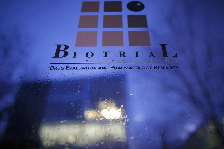 The Biotrial laboratory building in Rennes, France, on Sunday.