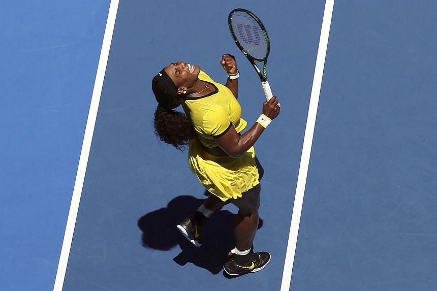 Serena Williams reacts during her first round match against Camila Giorgi at the Australian Open.