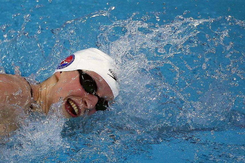 Katie Ledecky swims in the Women's 800 metre freestyle final during the Arena Pro Swim Series.