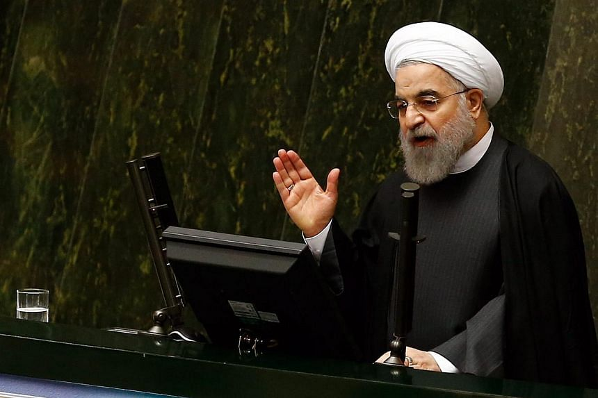Iranian President Hassan Rowhani speaks during a parliamentary session  in Tehran, Iran, on Jan 17, 2016.
