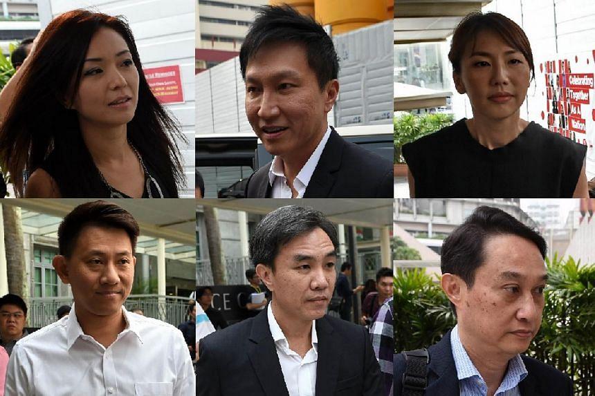 City Harvest Church leaders: Founder Kong Hee (top centre), former finance manager Serina Wee (top left), Sharon Tan (top right), Tan Ye Peng (bottom left), John Lam (bottom centre), and Chew Eng Han (bottom right).