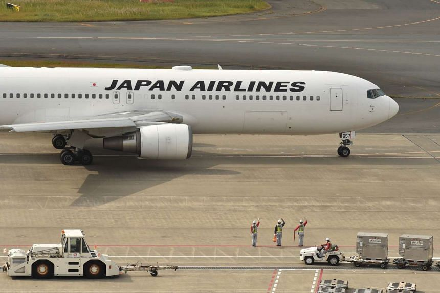 A Japan Airlines plane at Haneda Airport in Tokyo.