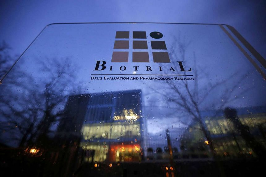 The entrance of the  Biotrial laboratory building in Rennes, France on Jan 15, 2016.