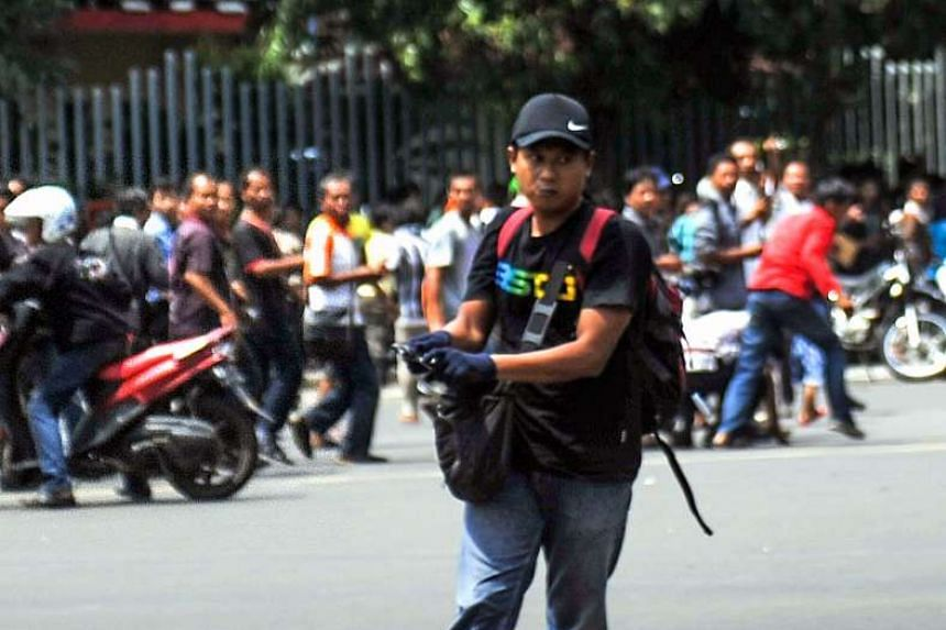 An off-duty police officer who was smoking gunned down Sunakim (pictured), also known as Afif, during the Jakarta attack on Jan 14, 2016.